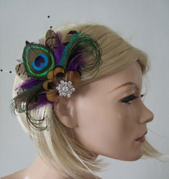 "Purple Brown Green Peacock Pheasant Feathers Fascinator Hair Clip ""Lyssa"""